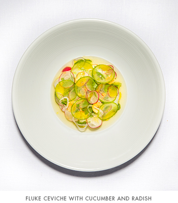 EMP Summer House's Fluke ceviche with cucumber and radish