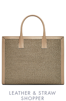 LEATHER & STRAW SHOPPER