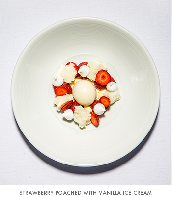 EMP Summer House's strawberry poached with vanilla ice cream