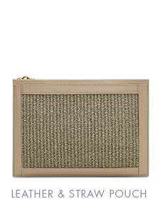 LEATHER & STRAW ZIP POUCH